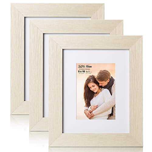 LaVie Home 8x10 Picture Frames with mat(3 Pack,Shell White) Woodgrain Photo Frame with High Definition Glass for Wall Mount & Table Top Display, Set of 3 Serendipity Collection