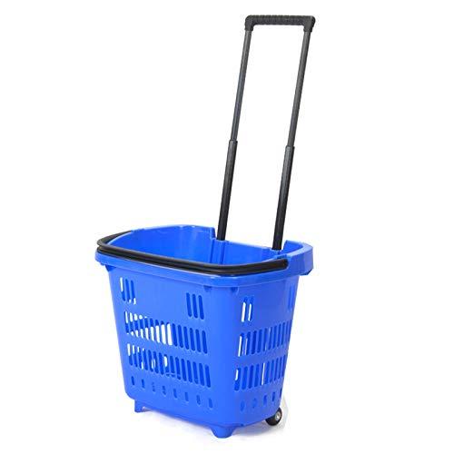 Supermarket Einkaufskorb, Einkaufstrolley mit Rollen, Einkaufskorb aus Kunststoff, Einkaufskorb mit 2 Rädern, Teleskopstange, kleines Gewicht 2