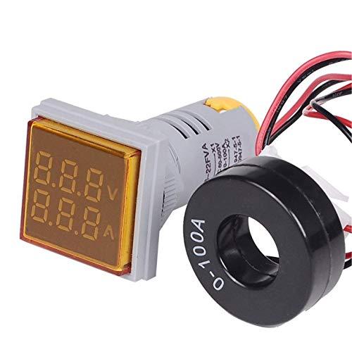LED Digital Voltmeter Amperemeter Hertz Meter Signalleuchten Spannung Strom Frequenz Combo Meter Anzeigetester - Gelb