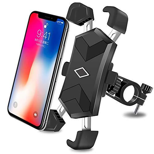 CHYBFU Soporte Movil Bici, Universal Soporte Móvil Moto Bicicleta con 4 Brazos Telescópicos, 360°Rotación Ajustable Porta Teléfono Bicicleta Manillar 1S Cierre para iPhone&Android en 4.5 y 7.2 Inches