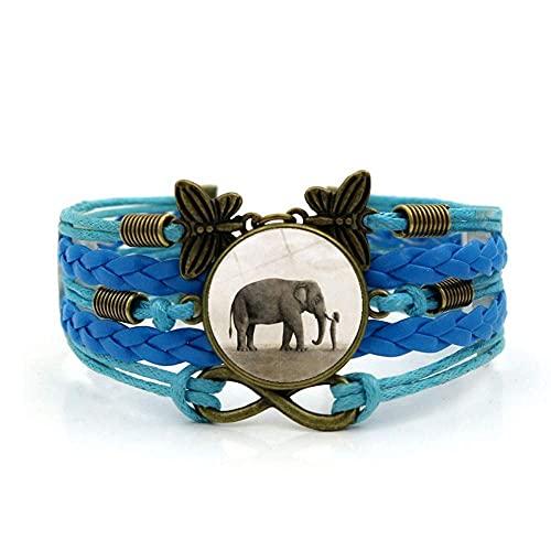 Pulsera tejida, cuerda azul linda niña animal, niña de animales de piedra preciosa múltiple combinación de vidrio tejido a mano múltiple Joyería de la joyería de las damas de la joyería de estilo euro