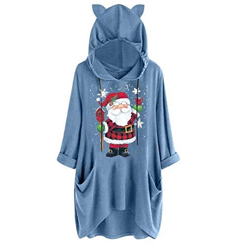 qiaoxiahe Weihnachten Damen Hoodie Kleid Pullover Langarm Kitzohren Sweatshirts Kapuzenpullover Tops Herbst Lange Ärmel Einfarbig Mantel Jacke Kapuzenpullis Pulli Hoodys