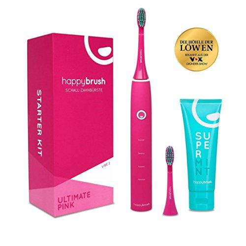 happybrush Schallzahnbürste | lange Akkulaufzeit, Timer & 4 Putzprogramme | wasserdichte Ultraschall-Zahnbürste VIBE 2 pink mit 2 Aufsteckbürsten