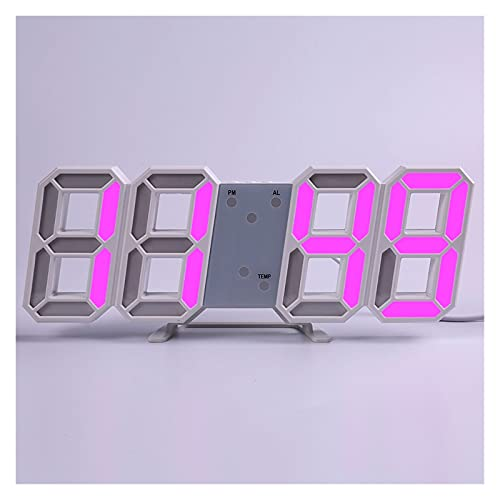 SPFCJL LED Digital Reloj de Pared Alarma Fecha Temperatura Automático Retroiluminación Mesa Mesa Desktop Decoración del hogar Soporte Soporte Relojes de suspensión (Color : Wall Clock 2)