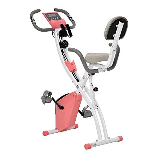 HOMCOM Bicicleta Estática Plegable con Altura y Resistencia Magnética Ajustables con Pantalla LCD y Asiento con Respaldo 97x51x115 cm Rosa