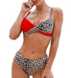 LIXILI Leopard Print Bikini Set Color Block Swimwear Traje de baño de Dos Piezas para Las Mujeres,Rojo,XL