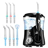HABOR Water Dental Flosser Oral Irrigator 600ml with 7 Multifunctional Jet Tips, 3 Min Timer, Water Dental Pick for Braces Care & Teeth Cleaning, Quiet Design