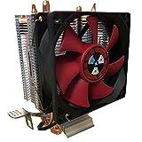 Ventilador de refrigeración de CPU de 8 pulgadas, doble tubo de calor, ventilador de refrigeración de CPU, componentes de sistema de refrigeración de CPU, color negro rojo, 1 pieza