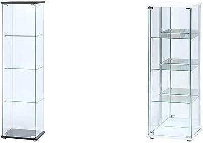 不二貿易 コレクションケース フィギュアケース 4段 高さ162cm クリア 全面ガラス 強化ガラス ディスプレイ 98880 & コレクションケース フィギュアケース 4段 高さ120cm ホワイト 背面ミラー付き ロータイプ 97338【セット買い】
