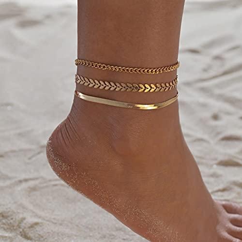 Ushiny Tobillera con diseño de hoja bohemia de oro de espina de pez en capas, conjunto de tobilleras de verano, cadena de pie de playa, accesorios de joyería para mujeres y niñas (3 piezas)