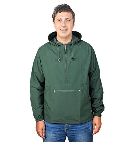 Outdoor Shaping Men's Pullover Rain Jacket Hooded Windbreaker Raincoat Waterproof Lightweight, Green, X-Large
