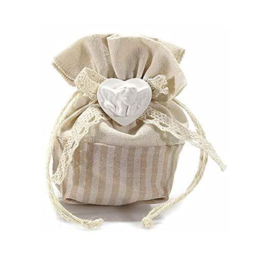 Homiwise 18 Sacchetti Bomboniere Confetti in Tessuto con gessetto a Forma di Angelo e Tirante, Scatoline Confetti, Segnaposto Matrimonio, Battesimo, Comunione, Nascita (Angelo Beige, 18)