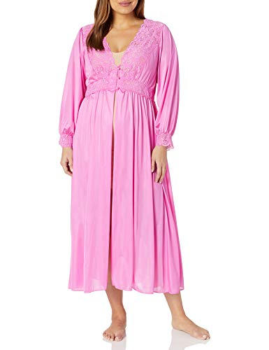 Shadowline Women's Plus Size Silhouette 54 Inch Long Sleeve Coat, Flamingo Pink, 2X