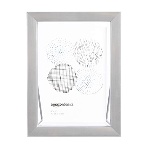 AmazonBasics - Marco de fotos flotante, 10 x 15 cm, níquel