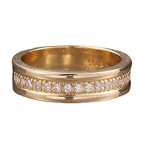 EzzySo Anillo de Diamante de una Sola Fila, Accesorios de aleación de joyería de la Mano Popular de Oro Simple y Americano, Regalos, Anillos de Boda,5