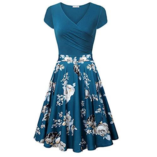 SHINEHUA Dames zomerjurk elegante A-Line V-hals korte mouwen strandjurk vintage casual jurken ronde hals A-lijn cocktailjurk feestjurk blauwe jurk voordelig wikkeljurk