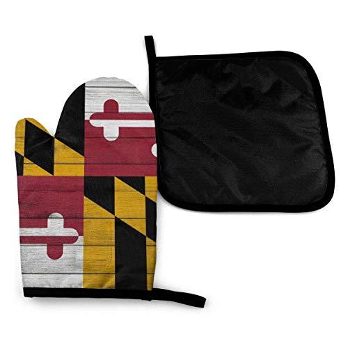 Textura de madera Bandera del estado de Maryland Guantes para horno microondas y porta ollas Juego de cubiertas Aislamiento térmico Manta Alfombrilla Manoplas Guantes Hornear Pizza Barbacoa BBQ