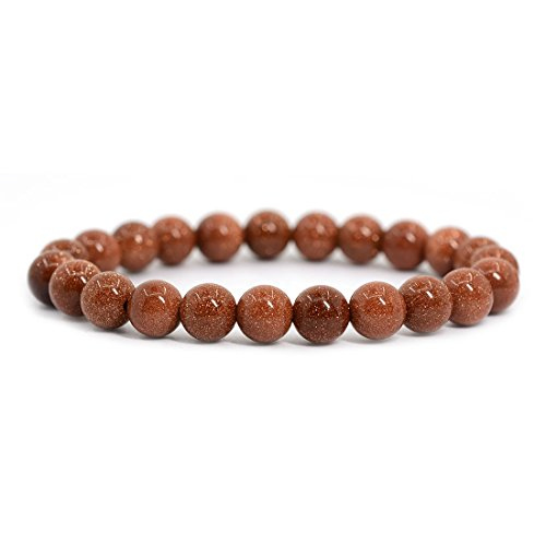 Synthetic Goldstone Gemstone 8mm Round Beads Stretch Bracelet 7 Inch Unisex
