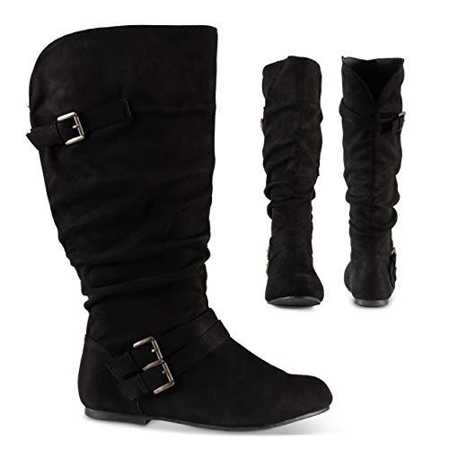 Twisted Shelly Damen Flache Halbschaft Slouch Stiefel, weite Wade & Fuß Damenschuhe, Schwarz (schwarze Velourslederoptik), 42 EU