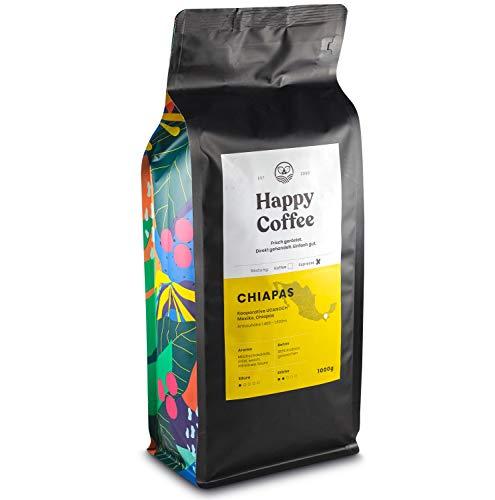 HAPPY COFFEE Bio Espressobohnen 1kg [Chiapas] I Frische fair-trade Kaffeebohnen direkt aus Mexiko I Arabica Kaffee ganze Bohnen I Ideal für Vollautomat und Siebträger - 2