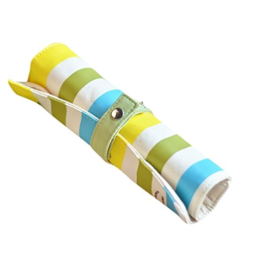 Wintialy Color Striped Fabric Rainbow Roll Pen Case School Supplies Gift