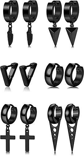 YADOCA 6 Pares Pendientes de Acero Inoxidable para Hombres Pendientes Cruz Aros Pluma Triangulo Negro tono dorado tono plateado