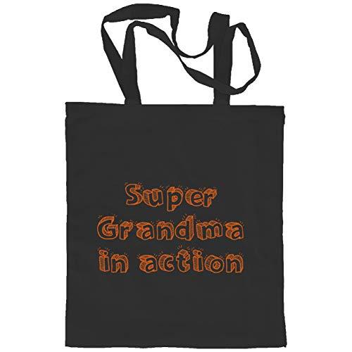 My Custom Style borsa Shopper Cotone nera#Nonni-Grandma Action# M70