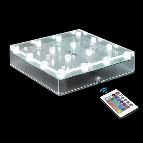 ARDUX 5 inch Square LED Vase Base Light with 18 Keys Remote Control, Charging USB or Battery Powered Multicolor Pedestal Light for Home Party Table Plant Wedding CenterpieceDecoration