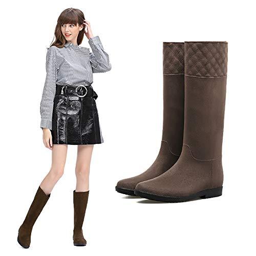HQEFC Chelsea Damen Regenstiefelette Gummistiefelette Ankle Rain Boot,Braun,38EU