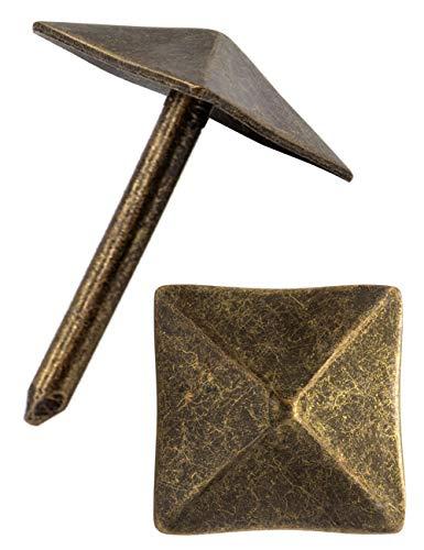 FUXXER® - Zier-Kopf-Nägel, Polster-Nägel, Möbel-Nägel, Abdeck-Nägel, Zier-Kappen, Dekor-Nagel, Beschläge, Vintage Messing Bronze Antik Optik, 12x12 mm, 40 Stück