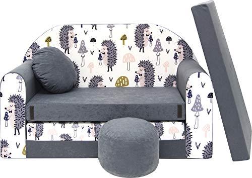 Pro Cosmo Kindersofa Bettfunktion 3in1 Sofa + Gratis Polsterhocker und Kissen Kindermöbel Set - AX1