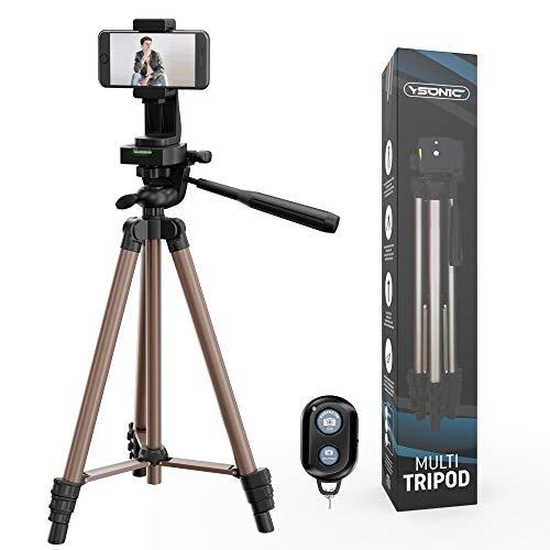 Handy Stativ Bronze Eloxiert - Selfie Stativ - Leichtes Kamera-Dreibeinstativ mit Bluetooth-Fernbedienung, 360 Grad Telefonhalter und Tasche - 50 Inch