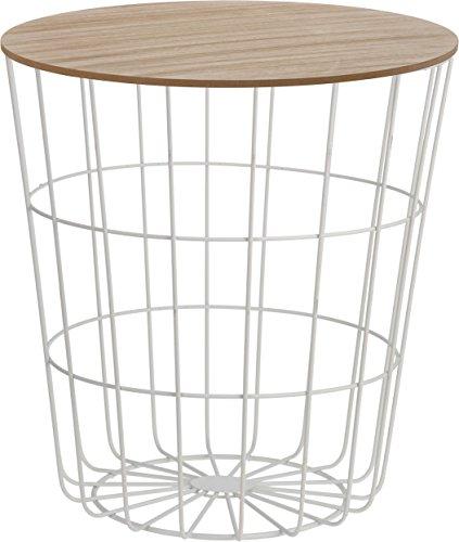 Mesa auxiliar de diseño, cesta de metal con tapa de madera, decoración para sofá, incluye bandeja para cesta ✅