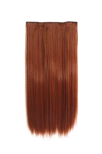 One Piece Clip In Hair Extension - Copper #350 - Straight - 20 Inches - 5 Clips 120g - Kanekalon Synthetic Fibre - Looks and Feels like Real Hair by Elegant Hair