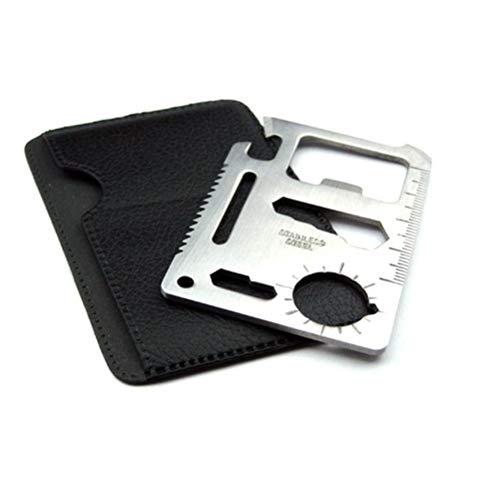 Gowsch Outil de carte de crédit de survie 11 en 1 Ouvre-bière s'adapte parfaitement dans vos cadeaux de portefeuille pour lui