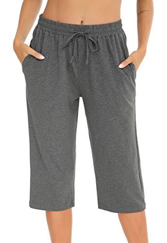 Vlazom 100% Algodón Pantalones de Pijama Mujer Verano, Partes de Abajo de Pijamas para Mujer,XXL,Gris
