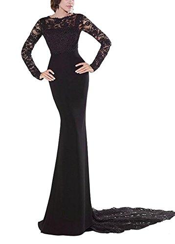 Snow Lotus Women's Bud Silk Chiffon Long Sleeve Black Mermaid Evening Dresses (24) (Apparel)