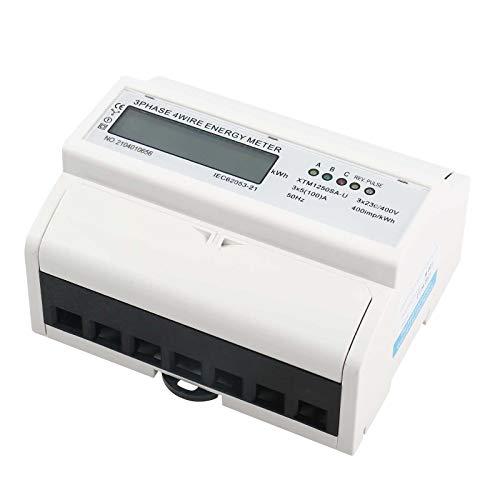Drehstromzähler Stromzähler LCD Digitaler 3-Phasen-4-Draht 5-100A Geeicht Energieverbrauch für Leistungsmesssystemen Wechselstromzähler