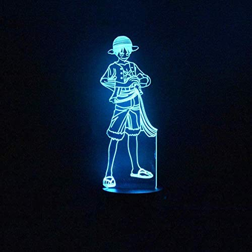 3D-Nachtlicht 3D-LED-Vision 7 Farbwechsel Kreative Anime-Figur One Piece Ruffy Modeling Nachtlicht USB-Schreibtischlampe Home Decor Leuchte-Remote_and_Touch