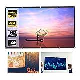 Pantalla De Proyección Manual Plegable Pantalla Proyector HD para Películas En Interiores Y Exteriores Cine En Casa Oficina Aula Tela De Poliéster, 60/72/84/100/120/150 Pulgadas