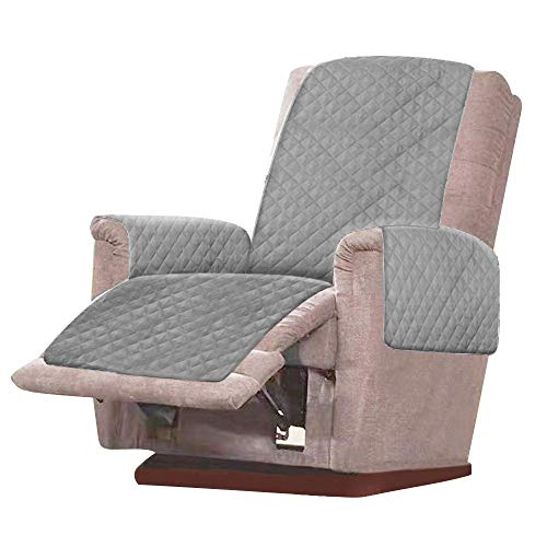 Sesselschoner Relaxsessel Sesselauflage Relax 1 Sitzer Sesselschutz Sofaüberwurf,Sesselschoner Überwurf mit 2,5 cm Breiten verstellbaren Trägern (Grau)