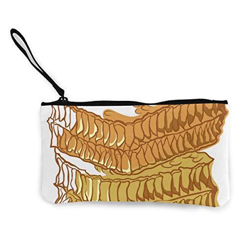 Honingraat Bee Icon Zoete Gezond Natuurlijk Voedsel Canvas Portemonnee Prachtige Muntportemonnee Kleine Canvas Muntportemonnee Wordt gebruikt om Muntverandering, ID en andere vast te houden