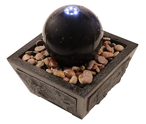 SAUERLAND Wasserspiel mit Marmor-Kugel in schwarz, inkl. Behälter, Zimmerbrunnen