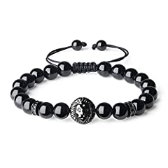 """Selection of high-end materials: 8mm Black Tourmaline, 0.5*0.48*0.3""""(13*12*8mm) vivid lion head charm, CZ paved charm Nylon String Braid Cord: Adjustable, fits for wrist size above 6.25""""(16cm) This stone beaded lion head bracelet can be a safe, auspi..."""
