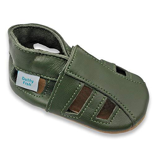 Dotty Fish Weiche Baby und Kleinkind Lederschuhe. Jungen und Mädchen. Sandalen Khaki. 12-18 Monate (21 EU)