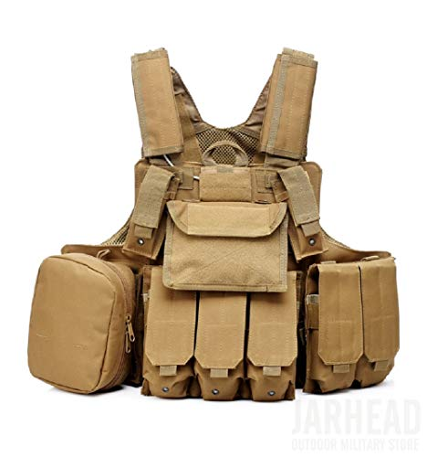 Chaleco Militar CS de Caza Fuerzas Especiales Multiusos Chaleco Protector de Combate con Equipo táctico de la Bolsa Molle-(Tan)