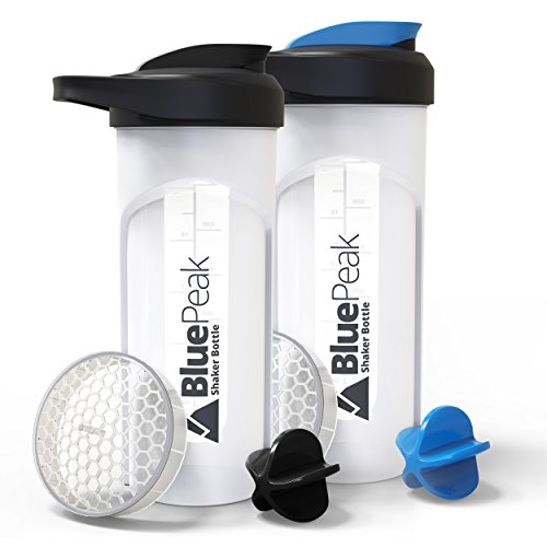 BluePeak Protein Shaker Bottle 28-Ounce, 2-Pack, with Dual Mixing Technology. BPA Free, Shaker Balls & Mixing Grids Included (Black-Blue)