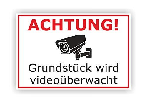 Videoüberwachung Warnschild - Achtung! Grundstück Wird videoüberwacht - 300 x 200 x 3 mm - Hartschaumplatte Kunststoff - Hinweisschild Kameraüberwachung