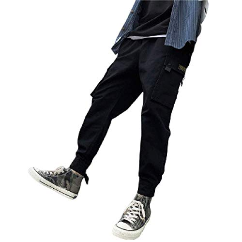 N/ A Cargo Jogging Letter Print Casual Pantalons Harem Jogger Pants Multi-Pocket Slim Fit Survêtement Work Wear Pantalons de survêtement