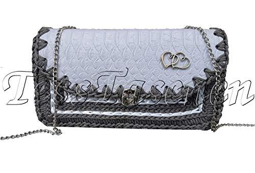 Kleine Krokodilleder Tasche auf Kette Graue Umhängetasche mit Muster Bestickte Brieftasche Handytasche Große Geldbörse Geldbeutel Reptil Leder für Kind und Mädchen